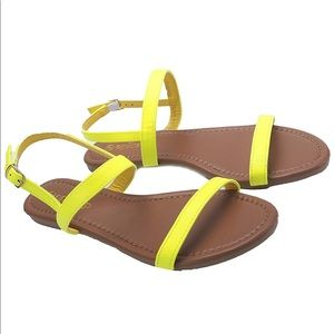 Shoes - Neon Yellow Open Toe Flat Sandals